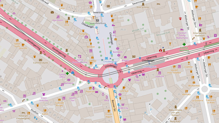 Kölner Südstadt in der OpenStreetMap.