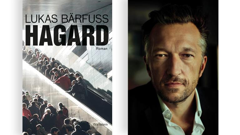 """Cover des Romans """"Hagard"""" von Lukas Bärfuss und ein Portrait von Lukas Bärfuss"""