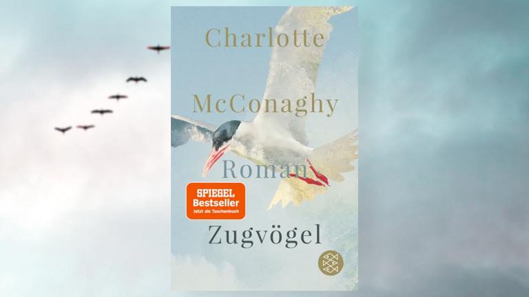 """Cover des Buches """"Zugvögel"""" von Charlotte McConaghy vor dem Hintergrund eines Fotos von Zugvögeln am Abedhimmel"""