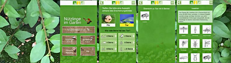 Screenshots der App Nuetzlinge im Garten