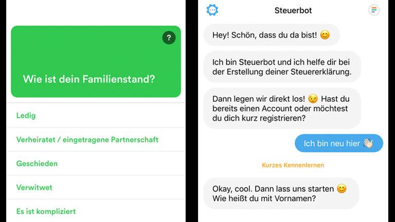 Screenshots aus der App Taxfix und Steuerbot