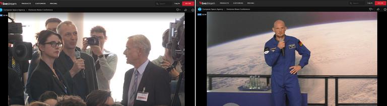 Reporter Stephan Beuting befragt Alexander Gerst und der Astronaut antwortet