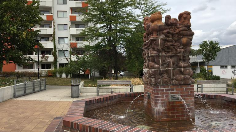 Brunnen an einem Platz in Dresden.