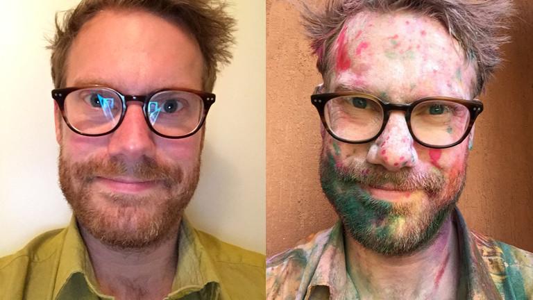 Christian Schmitt vor und nach dem Holi Festival