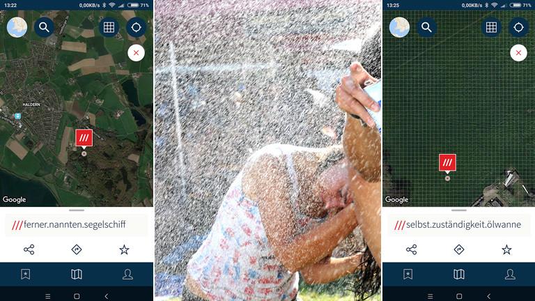 Screenshots der App (links und rechts) und Haldernbesucherin (mitte)