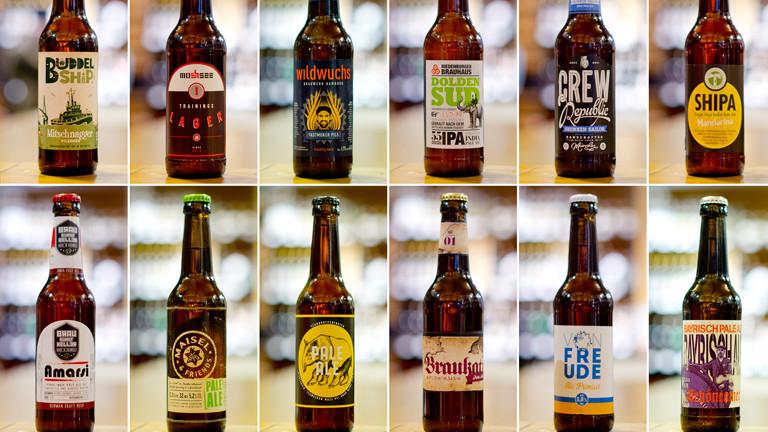 Verschiedene Biere von Mikro-Brauereien