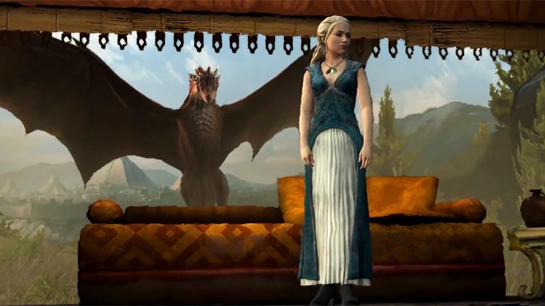 Animation Computerspiel Game of Thrones, Mother of dragons mit Drachen.