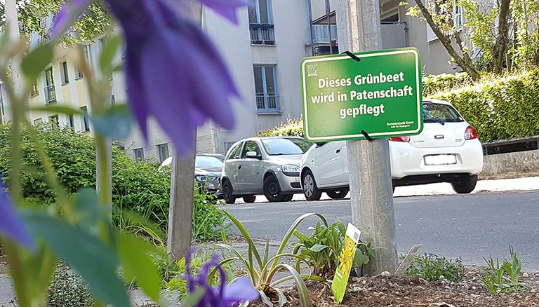 Offizielles Schild der Stadt Bonn über eine Patenschaft eines Grünbeetes