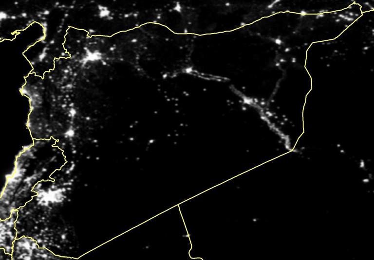 Satellitenaufnahme von Syrien bei Nacht