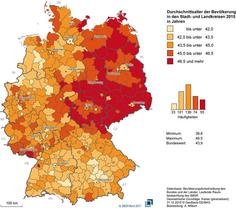 Durchschnittsalter der Bevölkerung in den Stadt- und Landkreisen 2015.