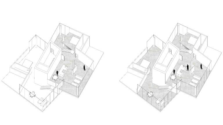 Skizze eines Wohnhauses