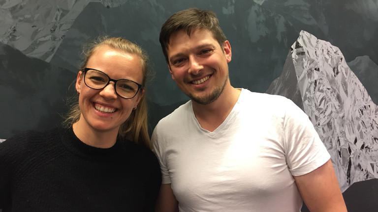 Moderatorin Jenni Gärtner und Michael Ginzberg von Projekt Antarktis.