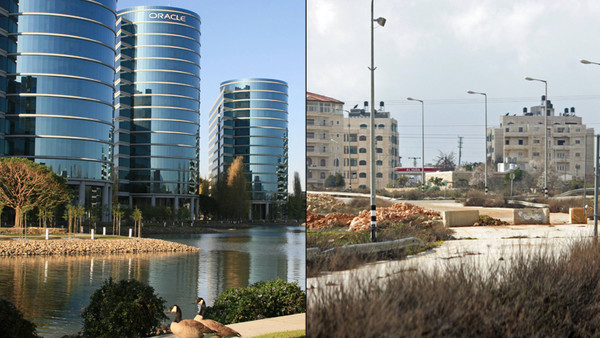 Silicon Valley und die Stadt Ramallah gegenüber gestellt.