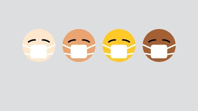 Mehrere Emojis, die einen Mundschutz tragen.