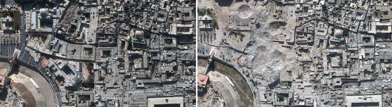 Links im Bild sind die historischen Stätten in Aleppo vor dem syrischen Bürgerkrieg (2010) zu sehen. Im rechten Bild zeigt die Satellitenaufnahme den selben Stadtteil in Aleppo nach den Zerstörungen durch den Bürgerkrieg (2014).