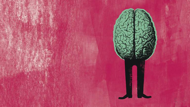 Menschliches Gehirn auf zwei Beinen