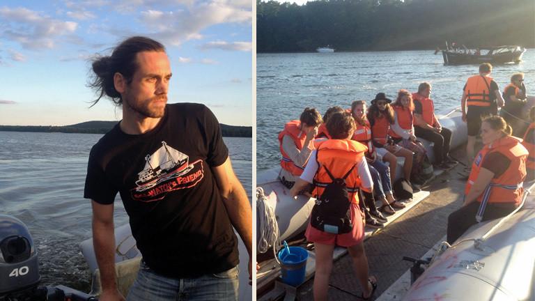 Peter Lanz steuert das Flüchtlingsboot auf dem Müggelsee.