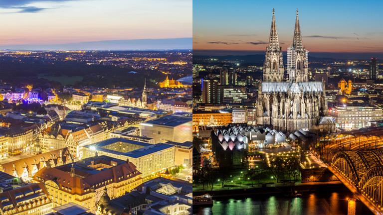 Collage: Stadtansichten von Leipzig und Köln.