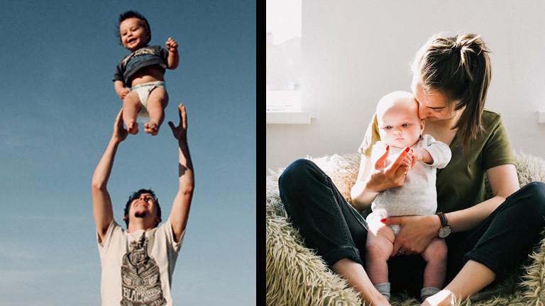 Ein Mann wirft seinen Sohn liebevoll in die Luft und eine Frau sitzt mit ihrer kleinen Tochter auf einem Stuhl.