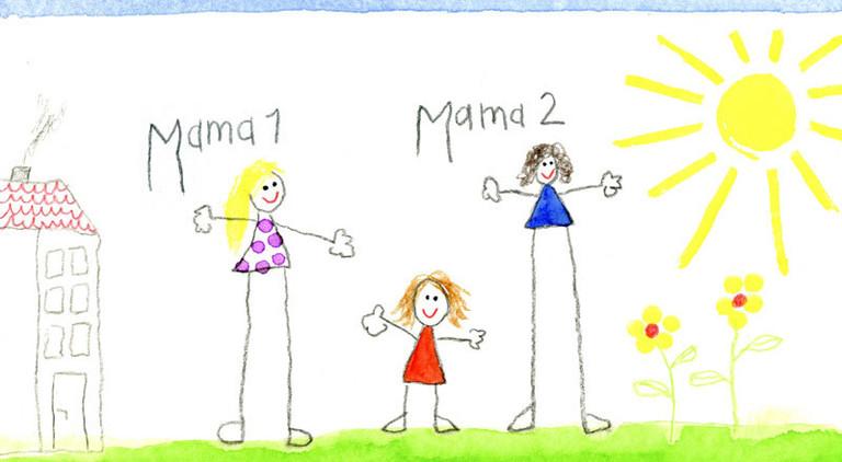"""Eine Kinderzeichnung auf der ein Mädchen und zwei Erwachsene zu sehen sind, die mit """"Mama1"""" und """"Mama2"""" beschrieben sind."""