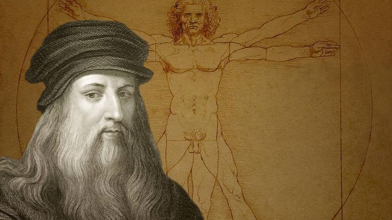 Zeichnung Vitruvianischer Mann, davor Leonardo da Vinci, italienischer Maler, Bildhauer, Architekt, Ingenieur, historische Illustration