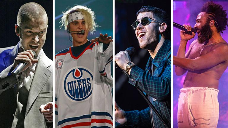 Die Musiker Justin Timberlake, Justin Bieber, Nick Jonas und Childish Gambino.