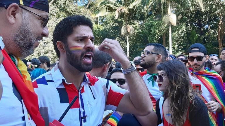David Miranda auf der Pride Parade in Sao Paulo.