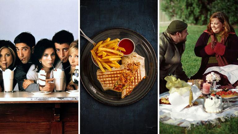 Szenen aus den Serien Friends, Gilmore Girls und ein gegrillter Wrap mit Truthahn und Pommes Frites.