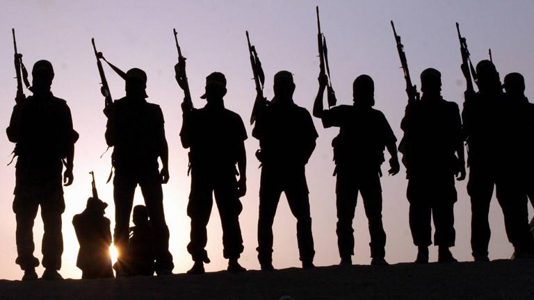 Kämpfer des Islamischen Staates stehen in einer Reihe und halten Waffen hoch