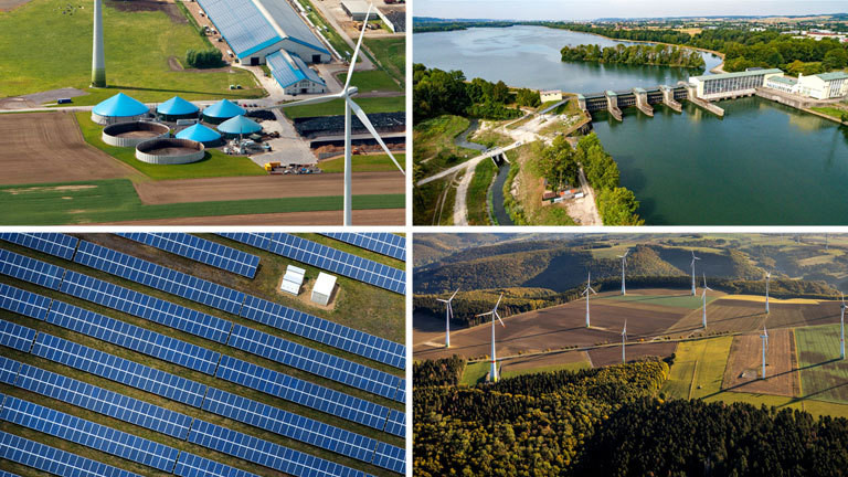 Biogasanlage, Wasserkraftanlage, Solarpark, Windräder