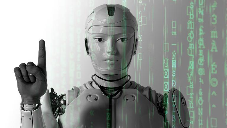 Roboter mit erhobenen Zeigefinger + Code