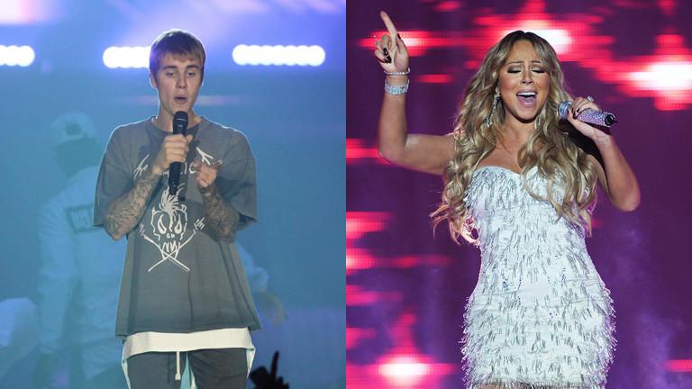 Justin Bieber und Mariah Carey auf einer Collage