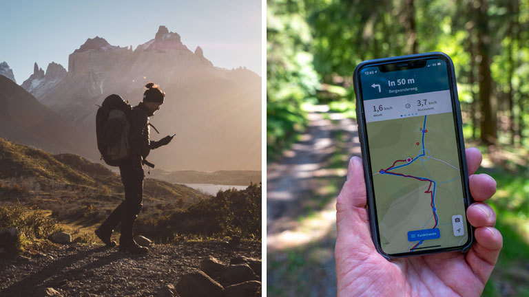 Collage: Ein Wanderer wandert in den Bergen und blickt dabei auf sein Smartphone. Eine Wander-App auf einem Smartphone, das ein Wanderer in seiner Hand hält.