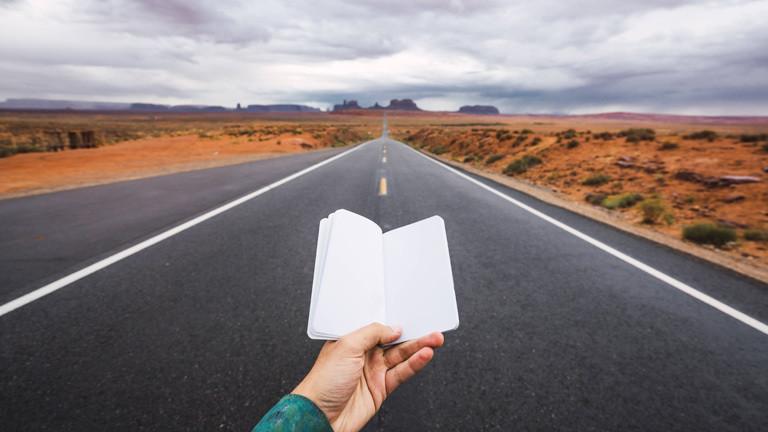 Tagebuch vor Highway in den USA.