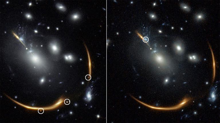 Bilder einer Supernova aufgezeichnet mit dem Hubble-Teleskop.