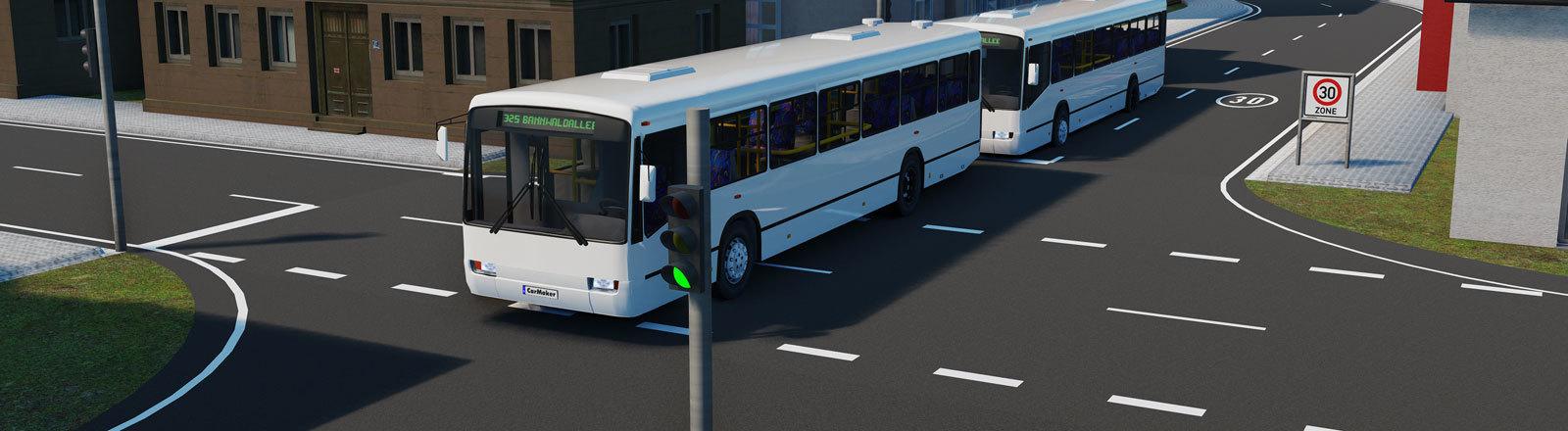 Bus-Platooning: Zwei Busse die Kolonne fahren in einer Grafik.