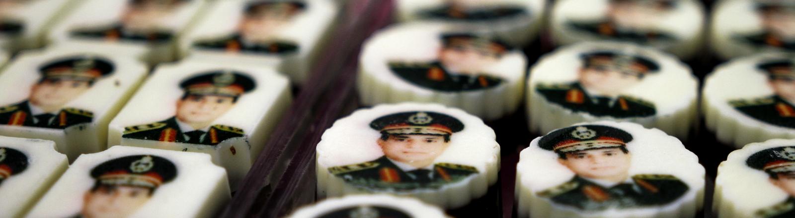 Ägyptens Militärchef Abd al-Fattah as-Sisi auf Pralinen.