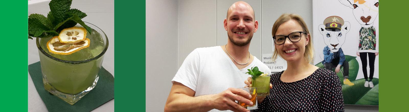 Cocktailmixer Felix Engels und Moderatorin Jenni Gärtner
