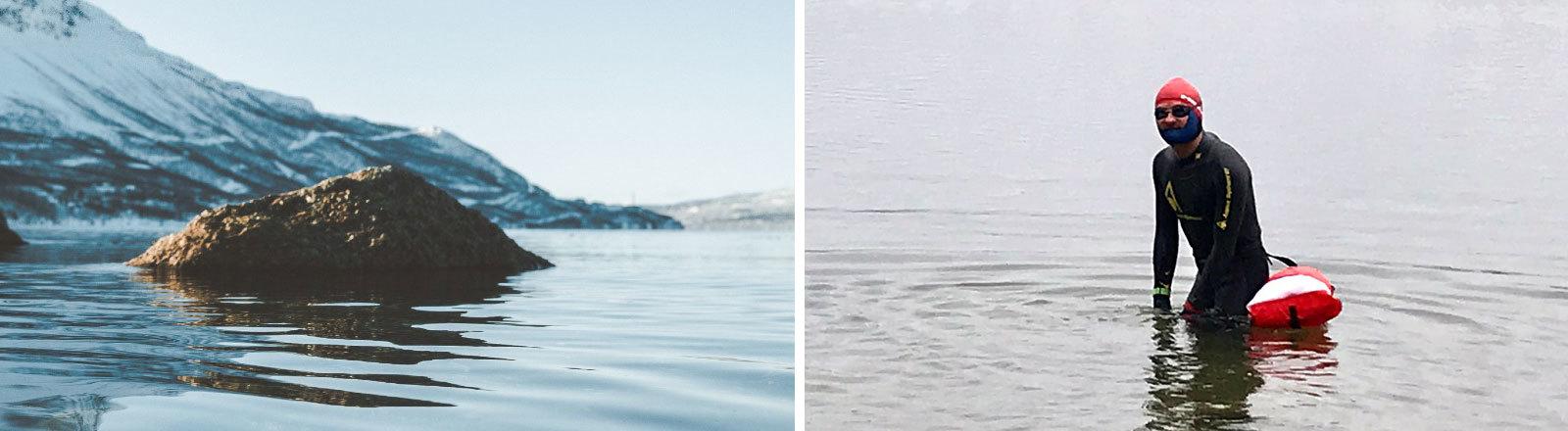 Eisschwimmer im Neoprenanzug
