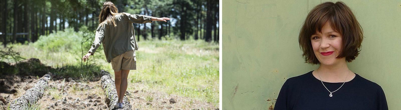 Junge Frau balanciert auf Baumstamm / Autorin Gunda Windmüller