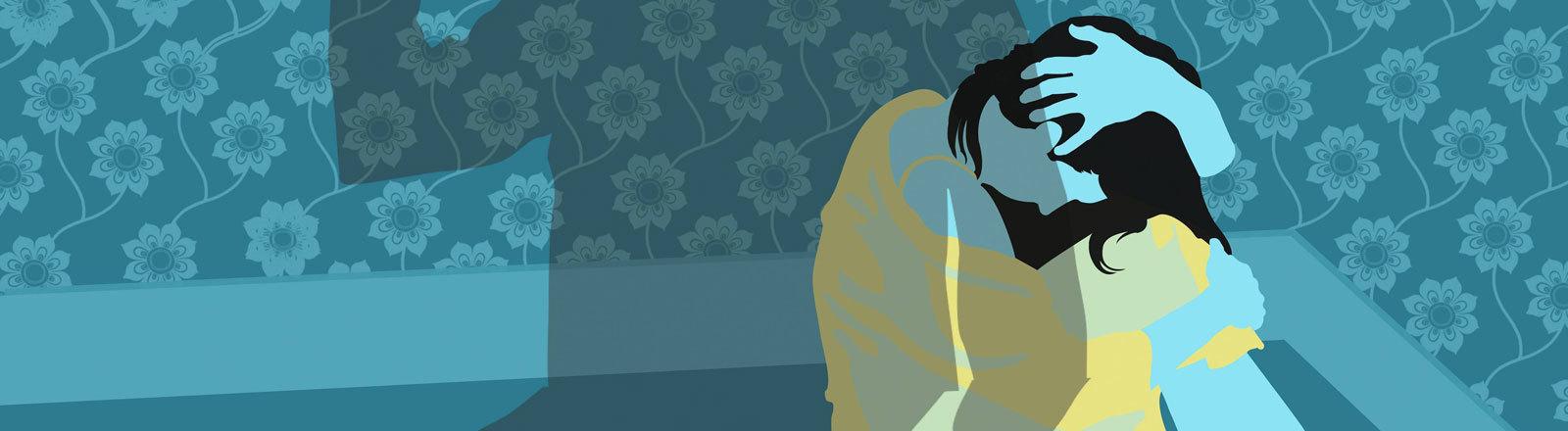 Symbolbild: Gewalt gegen eine Frau, die in der Ecke eines Zimmers kauert.