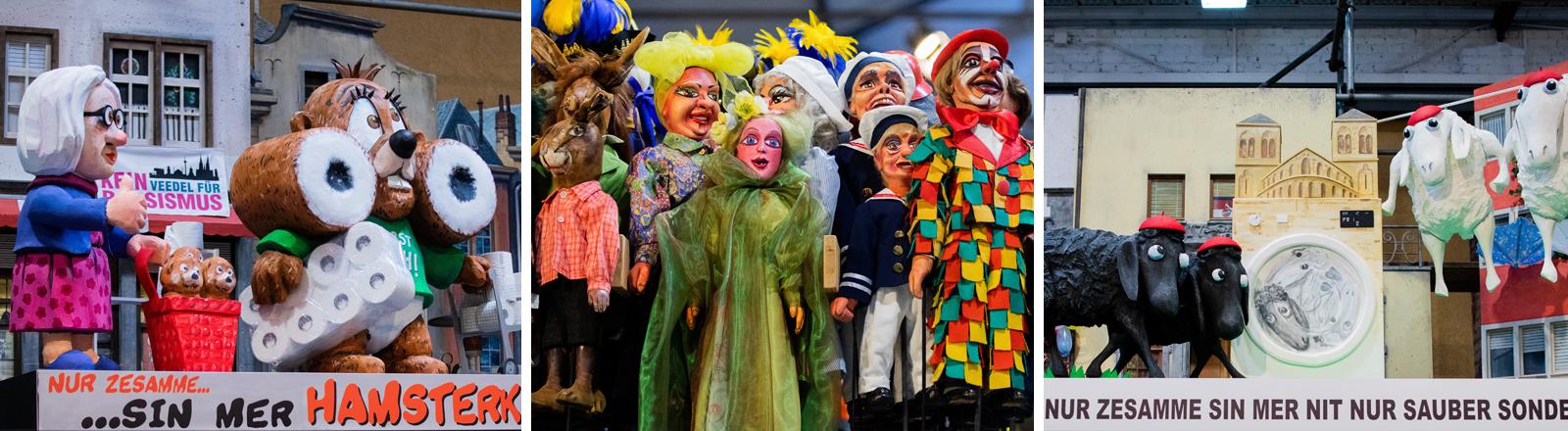 Miniaturwagen für den Rosenmontagszug mit Stabfiguren bzw. Stockpuppen im Hänneschen-Theater in Köln.