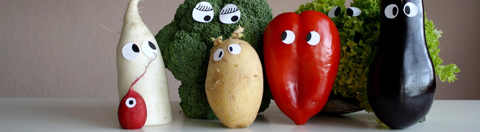 Obst und Gemüse mit Augen