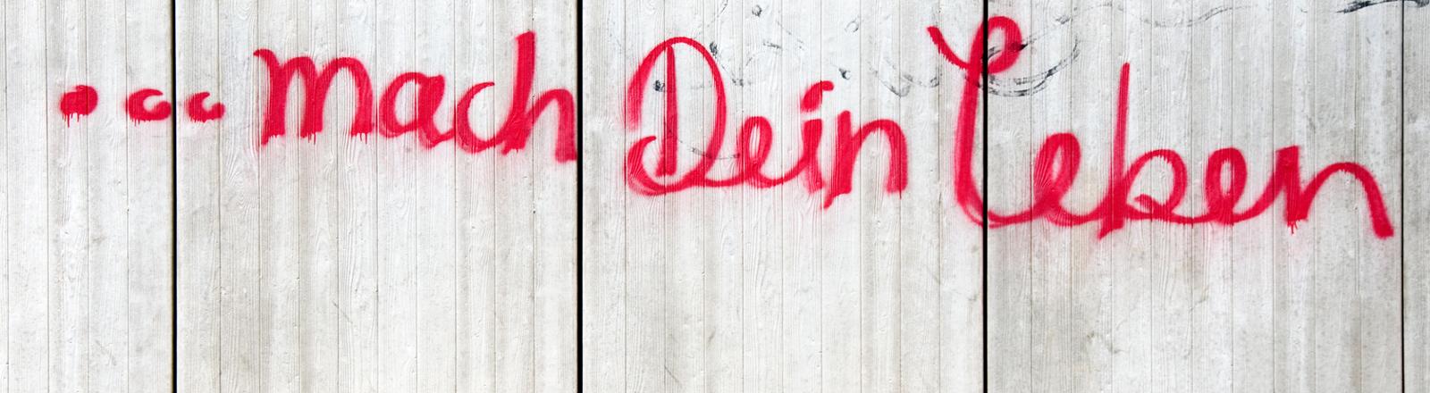 """Schriftzug """"...mach Dein Leben"""" auf einer Wand"""