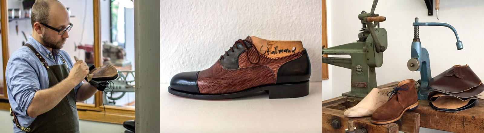 Schuhmacher Philipp Stallmann und seine selbst gefertigten Schuhe.