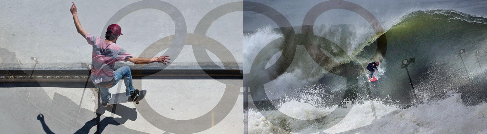 Skater und Surfer vor Olympischen Ringen