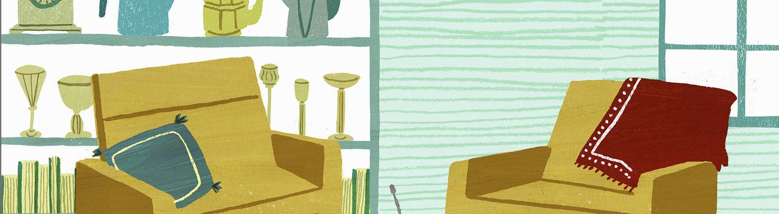 Wohnzimmer mit gelben Sesseln
