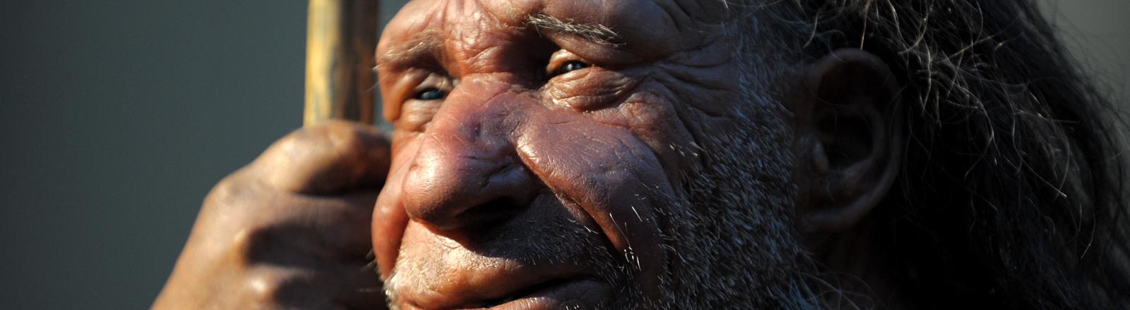 Die Nachbildung eines Neandertalers