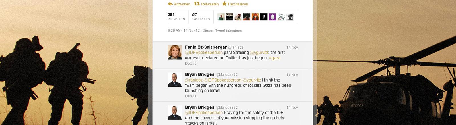 Screenshot (15.11.2012) zeigt eine deutsche Twitterseite, auf der die israelischen Streitkräfte ihren Angriff auf Gaza mitteilen; Bild: dpa