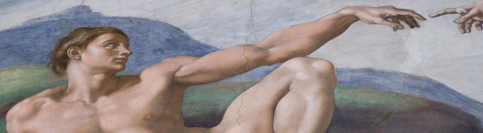 Die Erschaffung Adams von Michelangelo - Wandmalerei in der Sixtinischen Kapelle in Rom.